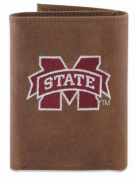 ZeppelinProducts MSSU-IWE2-CRZH-LBR Mississippi State Trifold Embroidered Leather Wallet