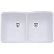 Blanco 440185 Diamond Equal Double Bowl Silgranit II Undermount Kitchen Sink - White