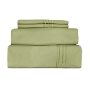 Cheer Collection MicroFiber 1800 Series Solid Luxury Sheet Set Full Size - Sage