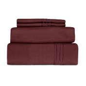 Cheer Collection MicroFiber 1800 Series Solid Luxury Sheet Set Twin Size - Wine