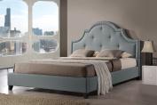 Baxton Studio Colchester Linen Modern Platform Bed, Queen, Grey
