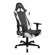 DXRacer RF0/NW Black White Racing Bucket Seat Office Chair Gaming Ergonomic with Lumbar Support