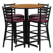 Flash Furniture 80cm Round Natural Laminate Table Set with 4 Ladder Back Metal Barstools - Burgundy Vinyl Seat
