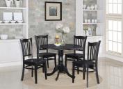 East West Furniture DLGR5-BLK-W 5-Piece Kitchen Table Set, Black Finish