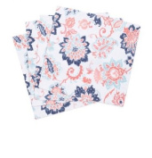 Cynthia Rowley Cotton Placemats, Coral Red Blue Floral Pattern on White (Set of 4