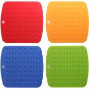 Silicone Pot Holders, Trivet Mat, Non-slip Hot Pads, Set of 4, Asst Colours By Arad