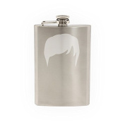 Mens Hair #2 - Side Part Style Guys Haircut - Etched 240ml Stainless Steel Flask