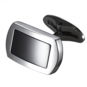Caseti CACL008 Caseti Charlie Tango Stainless Steel and Black Onyx Cuff Links