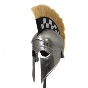 EcWorld Enterprises 8880632 Antique Replica Corinthian Black Plume Armour Helmet - Checkerboard
