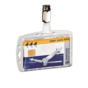 Durable 800519 Shell-Style ID Card Holder Vertical-Horizontal With Clip Clear 25 Per Pack