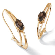 PalmBeach Jewellery 45839 4.90 TCW Marquise-Cut Genuine Smoky Quartz 14k Yellow Gold-Plated Oblong Hoop Earrings