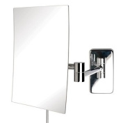 Jerdon Style JRT695C 17cm . x 22cm . Rectangular Wall Mounted Mirror Extends 36cm . Chrome Finish