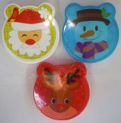 Set of 3 Christmas Lunch Boxes with Fork and Spoon - Santa, Reindeer, & Snowman Designs