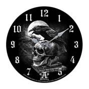 Poe's Raven Crown Skull Curse Wall Clock By Alchemy Gothic Round Plate 34cm D