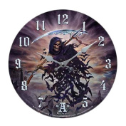 Tithe To Hell Grim Reaper Bat Morph Wall Clock By Alchemy Gothic Round Plate 34cm D