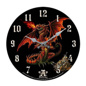 Theothalax Draconis Red Dragon Wall Clock By Alchemy Gothic Round Plate 34cm D