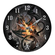 Order Of The Dragon Flamethrower Wall Clock By Alchemy Gothic Round Plate 34cm D
