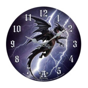 The Lightning Dragon Storm Terror Wall Clock By Alchemy Gothic Round Plate 34cm D