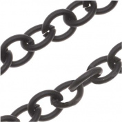 Matte Black Oxidised Plated Cable Chain 7mm - Bulk By The Foot
