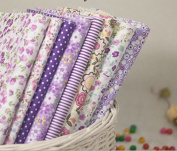 Little Flower with Different Styple Cotton Fabric Bundle Quilting Sweing Fabric 8pcs Colour in Purple Size 20 X 25cm