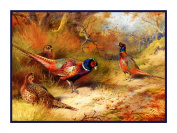 Ring Necked Pheasants by Naturalist Archibald Thorburn's Birds Counted Cross Stitch Chart