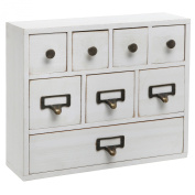 Small White Shabby Chic Wood Library Card Catalogue Style Storage Cabinet / 8 Drawer Jewellery Organiser