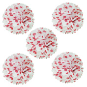 Wrapables Tissue Pom Poms Party Decorations for Weddings, Birthday Parties and Baby Showers, 20cm , Red Polka Dots, Set of 5