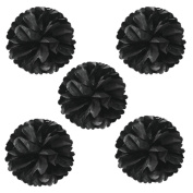 Wrapables Tissue Pom Poms Party Decorations for Weddings, Birthday Parties, Baby Showers and Nursery Decor, Black, 20cm , Set of 5