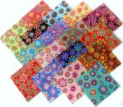 17 25cm Layer Cake Retro Flower Power Quilt Fabric Squares