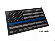LARGE 13cm x 7.6cm reflective Tattered 3M Thin Blue Line Decal Sticker United States Us Flag Tactical Police Law Enforcement