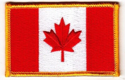 CANADIAN FLAG w/GOLD BORDER, Maple Leaf , Canadian//Iron On Embroidered Patch