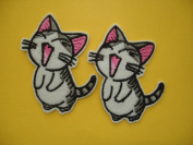 2 small pieces LAUGHING CAT Iron On Patch Fabric Applique Yawning Kitty Motif Decal 2.5 x 1.9 inches