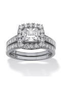 PalmBeach Jewellery 527156 1.93 TCW Princess-Cut Cubic Zirconia Bridal Ring Wedding Band Set in Platinum over Sterling Silver Size 6