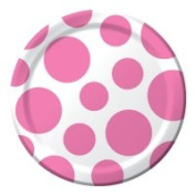 Creative Converting 419042 Chevron & Dots - 18cm . Lunch Plate Candy Pink - Case of 96