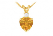 Fine Jewellery Vault UBPDVHT600CTAGVY November Birthstone Citrine Heart Pendant with Cubic Zirconia in Gold Vermeil over 925 Silver