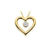 Fine Jewellery Vault UBHPD188Y14CZ Cubic Zirconia Heart Pendant 14K Yellow Gold 0.75 CT TGW