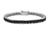 Fine Jewellery Vault UBBR14WSQPR500BD Black Diamond Tennis Bracelet with 5 CT Black Diamonds