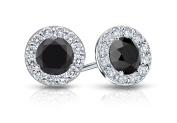 Fine Jewellery Vault UBERBK100W14CZBOX Onyx and CZ Halo Stud Earrings in 14K White Gold 1.ct.tw