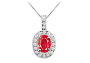 Fine Jewellery Vault UBUPDC347W14CZR Three Carat Created Ruby Oval and Round Cubic Zirconia in 14K White Gold Pendant