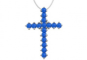 Fine Jewellery Vault UBPDR196W14S Religious Cross Pendant with Natural Blue Sapphire in 14K White Gold 2 Carat Total Gem Weight