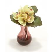 Distinctive Designs International 16209 Waterlook Fall Looking Green Cybidium Orchid Bouquet In Plum Bulb Forcer Vase