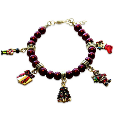 Whimsical Gifts 1301G-BR Christmas Charm Bracelet In Gold