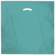 Deluxe Small Business Sales 248-2020-28 50cm x 50cm . and 13cm . BG Die-Cut Handle Bags Teal