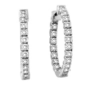 Luis Creations ERL1069 2.00 Ct. Diamond Hoop Earrings Set In 14K Gold. 2.5cm .