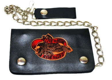 Leather In Chicago LICWB1-LR-02 Bifold Chain Wallet 15cm x 8.9cm . Live to Ride Brown