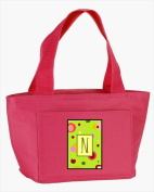Carolines Treasures CJ1010-N-PK-8808 Monogram Letter N - Lime Green Zippered Insulated School Washable and . Lunch Bag Cooler