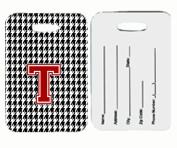 Carolines Treasures CJ1021-T-BT Monogram - Houndstooth Black Initial T Monogram Initial Luggage Tag Pair - 2