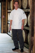 Uncommon Threads 4000-4109 Classic Basic Baggy Chef Pant with 3 Elastic Waist in Chalk Stripe - 5XLarge