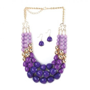 Breezy Couture Radiant Orchid 3 Layer Beads Necklace And Earrings Jewellery Set