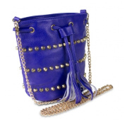 Mad Style 317856 Studded Drawstring Crossbody Bag Blue